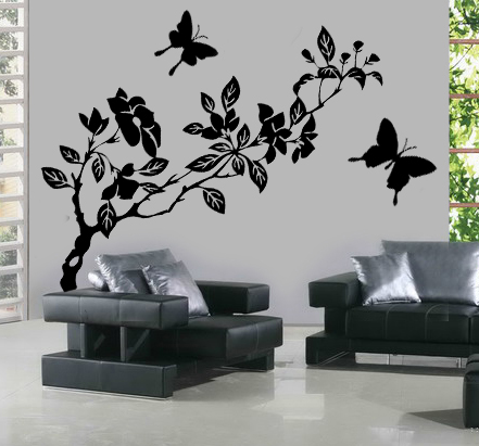 stickers fleur papillon achetez vos stickers moins cher. Black Bedroom Furniture Sets. Home Design Ideas