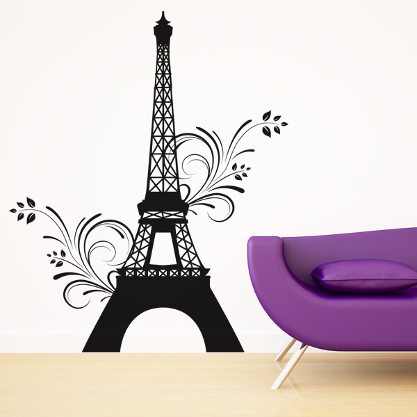 stickers tour eiffel fleur achetez vos stickers moins cher. Black Bedroom Furniture Sets. Home Design Ideas